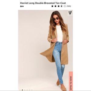 Lulus Harriet Long Double-Breasted Tan Coat